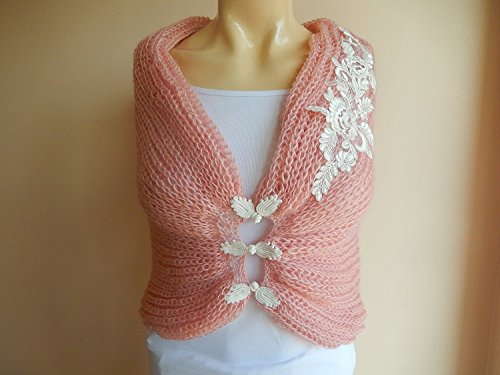 Powder Pink Bridal Capelet/ Wedding Wrap Shrug Bolero/hand Knit Mohair/ Decorative Chinese Knot Button Closures with French Lace