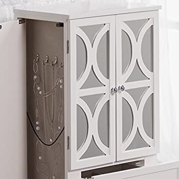 Belham Living Mirrored Lattice Front Jewelry Armoire - High Gloss White