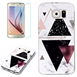 for Samsung Galaxy S6 Marble Case and Screen Protector,Unique Pattern Design Ultra Thin Slim Fit Soft Silicone Phone Case Bumper,QFFUN Shockproof Anti-Scratch Protective Back Cover - Black Triangle