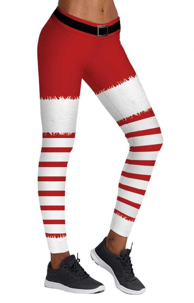 Women's Fall Winter Christmas Gifts Red and White Striped Leggings Skinny Tights