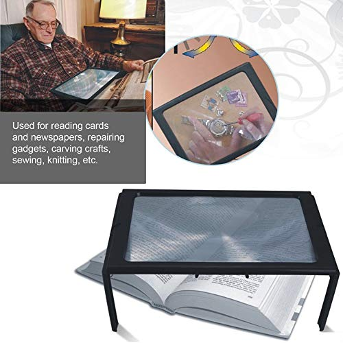 A4 Full Page Large 3X Table Hands Free Desk Foldable Magnifying Glass Magnifier for Reading Sewing Knitting Reading Glass