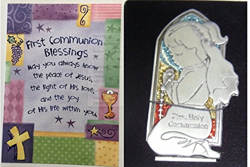 First Communion Blessing Card and Praying Girl (Communion Plaque)