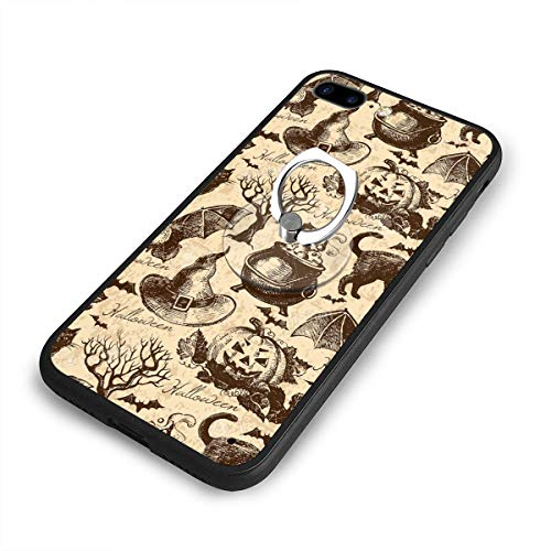 Happy Halloween Crazy Party Phone Case+Finger Ring Set Compatible with iPhone 7/8 Plus Rotation Kickstand -