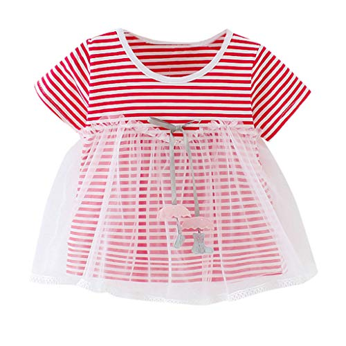 (Toddler Kid Baby Girl Mesh Patchwork Striped Printed Tulle Party Princess Dress Tops Clothing(Red,80/L))