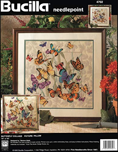 Bucilla Needlepoint Butterfly Collage Picture/Pillow Designed by Barbara Baatz