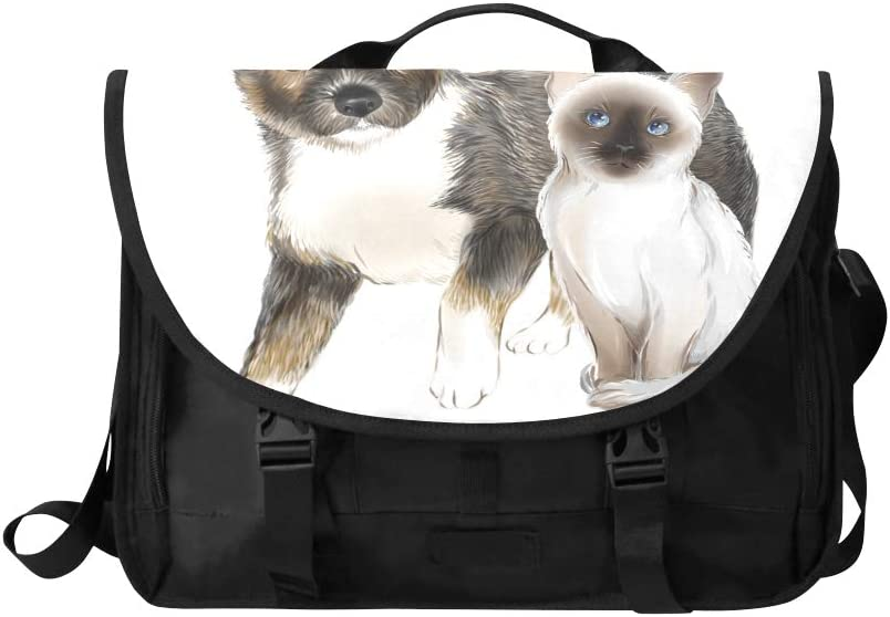 Laptop Briefcase Bag A Cat with A Dog Multi-Functional Ladies Satchel Handbags Fit for 15 Inch Computer Notebook MacBook