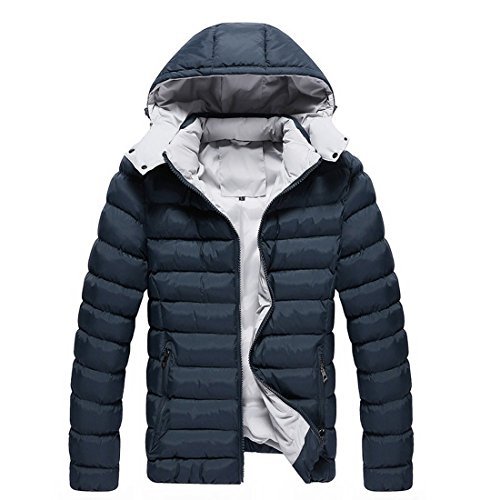Susanny Men's Short Down Jacket Winter Padded Coat with Removable Hood 3XL Dark blue