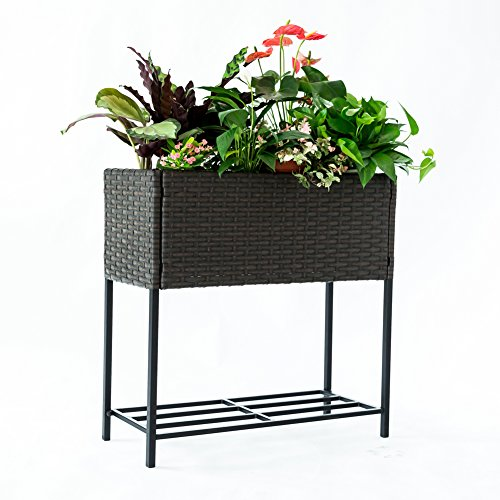 C-Hoptree Pot Plant Holder Stand Raised Succulent Herbs Flower Planter Shelf Patio Woven Flower Box