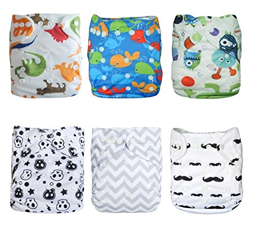 Naturally Nature Cloth Diaper 6pcs Pack Washable Adjustable Fits 6-33 Lb with 12 Inserts (Naturally Natures Inserts compare prices)