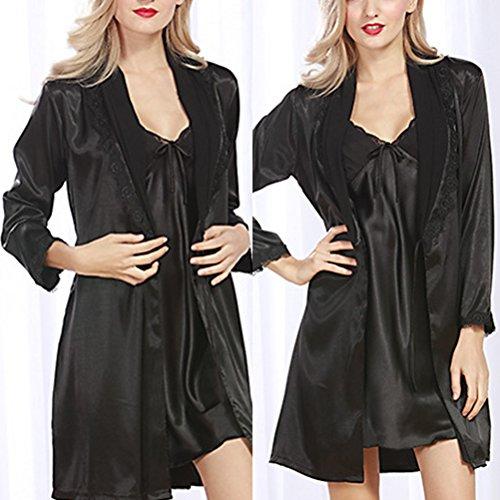 Zhuhaitf Premium Women's Silk Stain Nightdress Set Lace Trim Nightgown Sleepwear Black