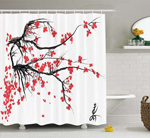 Ambesonne Nature Shower Curtain, Sakura Blossom Japanese Cherry Tree Garden Summertime Vintage Cultural Print, Fabric Bathroom Decor Set with Hooks, 70 Inches, Grey and Vermilion (Vintage Cherry)