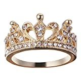 Rose Gold Plated Sterling Silver Cubic Zirconia CZ Crown Filigree Promise Fashion Ring(8, Crown Ring-1)