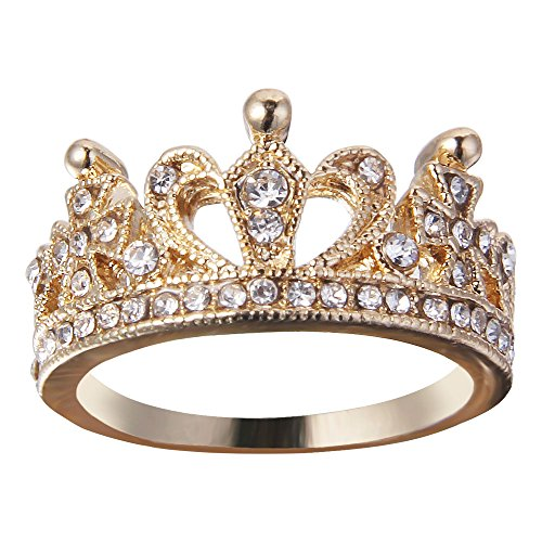 JEWERYE Fashion Clear Exquisite Princess Queen Crown Rings for Women/Girl (7, Crown Ring-1) (Gold Crown Ring)