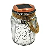 Sogrand Mercury Electroplating Solar Glass Jar, 4 Color 8 LED Copper Wire, Copper Finish Cap, Solar Lights Outdoor, Thick Hanger