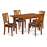 East West Furniture PSAV5-SBR-LC 5-Piece Kitchen Table Set For Sale