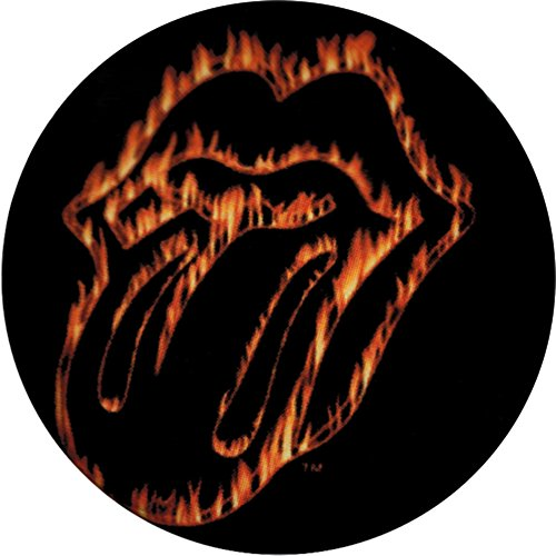 Stone Rolling Flaming Lips - Rolling Stones - Unisex-adult Rolling Stones - Flaming Tongue Button Black