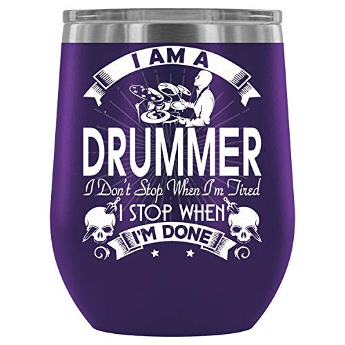 - Gift For Drummer Wine Tumbler Cup, I'm A Drummer 12 oz Double-insulated Stemless Glass, Exclusive for Home, Office,Perfect for Wine (12oz - Purple)
