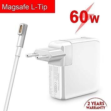 Rocketek Cargador Mac Book Pro de 60W, Punta en L magnética de Repuesto Magsafe 1, con Adaptador de AC Cable de Carga Compatible con Pantalla Retina ...