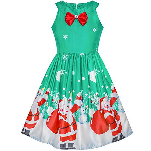 LN61 Girls Dress Christmas Santa Snow Xmas Party Turquoise Size 7 -