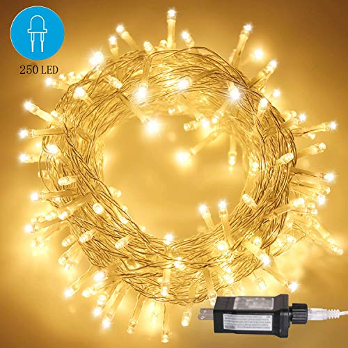 CREASHINE LED Christmas String Lights, 250 Led 164 ft Outdoor String Lights for Tree, 8 Modes Indoor Fairy Lights for Christmas Tree, Warm White (Decorative Cord Wrapped Around A Christmas Tree)