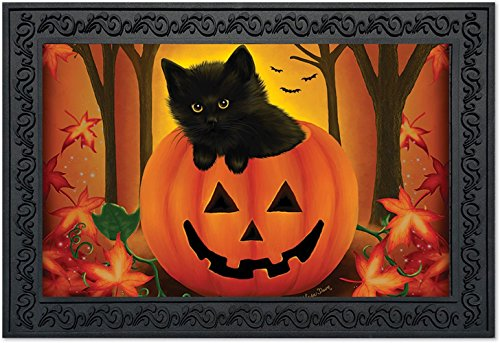 Halloween Kitten Doormat Jack O'lantern Black Cat 18