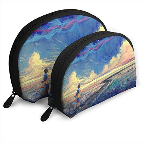 Customized Boy Bicycle Trip Graffiti Watercolor Shell Portable Zipper Bag?2 Bags?, Suitable for Women Cosmetics, Handbags/Handbags, Women Accessories.