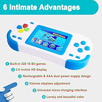 Douddy Handheld Games for Kids with Built in 220 16 Bit Games Player Toy 3.0 Inches Display Rechargeable Birthday Christmas Party Gift (Blue): Toys & Games