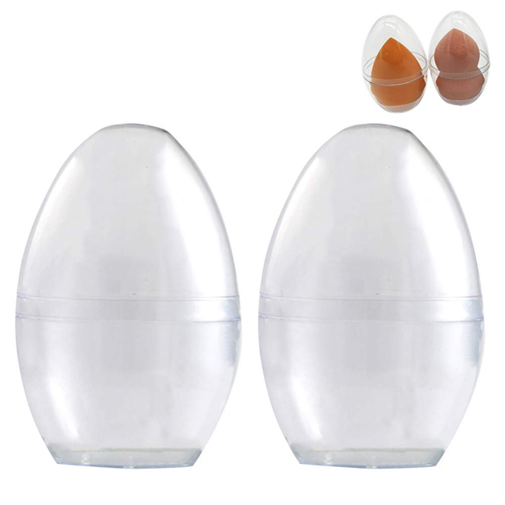 MEABEN 8 Pieces Clear Egg Shape Beauty Blender Holders Containers Makeup Sponge Puff Case Holders Stands Beauty Sponge Drying Stands with Lid
