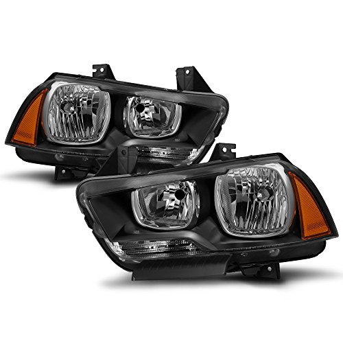 ACANII - For Blk 2011-2014 Dodge Charger Halogen Headlights Headlamps Replacement Driver + Passenger Side