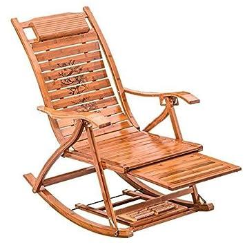 Hfyg Tumbona Silla Mecedora de bambú para Exterior Silla ...