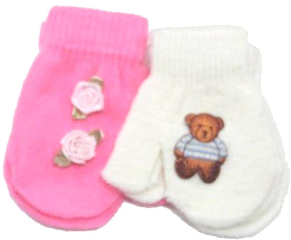 Two Pairs of Stretch Gita Mittens for Infants Ages 0-12 Months