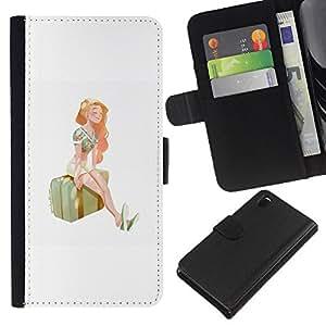 A-type (Chica estación Viajes Arte Maleta Pintura Verano) Colorida Impresión Funda Cuero Monedero Caja Bolsa Cubierta Caja Piel Card Slots Para Sony Xperia Z3 D6603