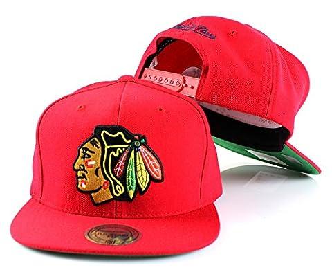 NHL Mitchell & Ness Vintage Wool Solid Snapback Hat (Adjustable, Chicago Blackhawks - Red)
