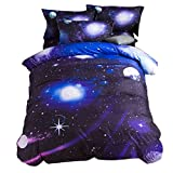 uxcell® Galaxy Sky Cosmos Night Pattern Queen Size 3pcs Bedding Quilt Duvet Set Dark Purple