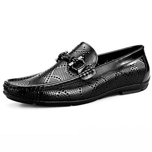 Herren Lederschuhe Atmungsaktive Erbsen-Schuhe männliche beiläufige Schuhe höhlen Lounger-britische Art-Männer Lederschuhe Herrenschuhe ( Farbe : Braun , größe : EU39/UK6 ) Schwarz