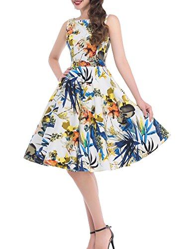 Belle Vintage Mujeres Floral 9 Años Vestidos Poque® Swing nbsp;Fiesta de 50 Cócteles De bp02 awAEwr