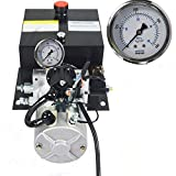 ECO LLC 8 Quart Single Acting Trailer Pump 12V Electric Hydraulic Power Unit for Dump Truck Remotely Controlled with Hydraulic Pressure Gauge