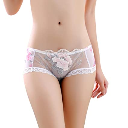 25bc283d2326 Image Unavailable. Image not available for. Color: Flower Panty, Witspace  Women Fashion Thongs Comfortable Stylish Underwear Transparent ...