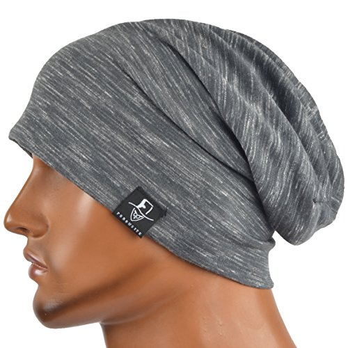 JESSE · RENA Men's Chic Striped Thin Baggy Slouch Summer Beanie Skull Cap Hat (Grey)