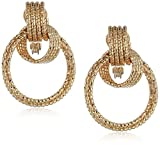 Anne Klein Women's Gold Tone And Diamond Cut Drop Hoop Clip On Earrings