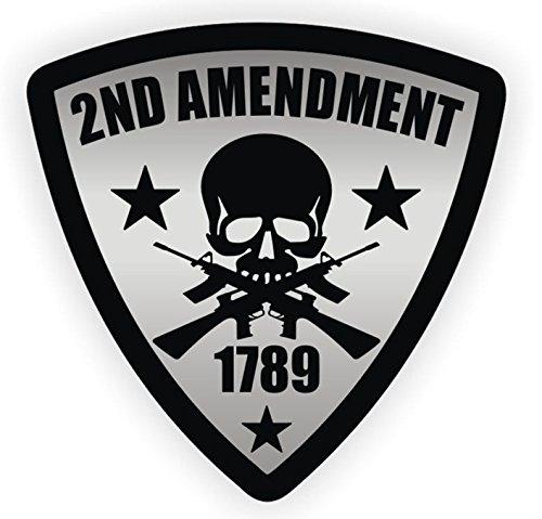 1 Pc Awe inspiring Unique 2nd Amendment Skull 1789 Guns Window Sticker Signs Laptop Luggage Funny Art Graphics Burglar Warning Sign Vinyl Stickers Size 2 1/2