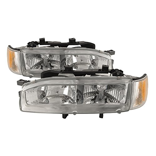 HEADLIGHTSDEPOT Chrome Housing Halogen Headlight Corner w/Bulbs Combo Compatible with Honda Accord 1992-1993 Includes Left Driver and Right Passenger Side Headlamps Accord Oem Left Side Headlight