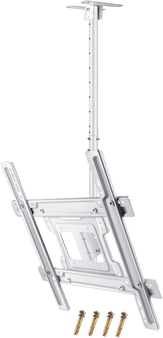 JXMTSPW TV Ceiling Mount White Monitor Wall Bracket Most 32-60 inch Flat Curved Screen Display Adjustable Height Tilt Swivel Full Motion Fit 39 40 48 49 50 55 58 up to VESA 400x400mm 100lbs