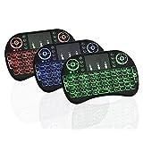 Mini Teclado Inalambrico Iluminado, Con TouchPad, USB 2.4GHz para PC, Android TV Box, Negro