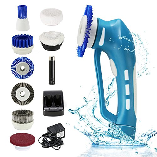 Cordless Power Scrubber, EVERTOP Cordless Automatic Multi Purpose Power Spin Scrubber Functional Portable Handheld Cleaning Brush Kit with Rechargeable Battery and 8 Detachable Replacement Brushes