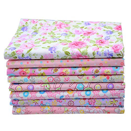 iNee Pink Floral Fat Quarters Quilting Fabric Bundles, Sewing Fabric for Quilting Crafting, 18