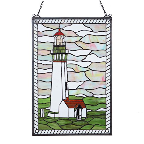 Bieye W10005 23 inches Lighthouse Tiffany Style Stained Glass Window Panel with Hanging Chain, 15