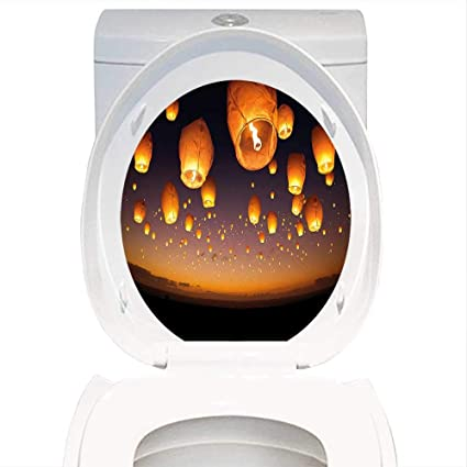 amazon com toilet seat wall stickers paper night sky asian ceremony