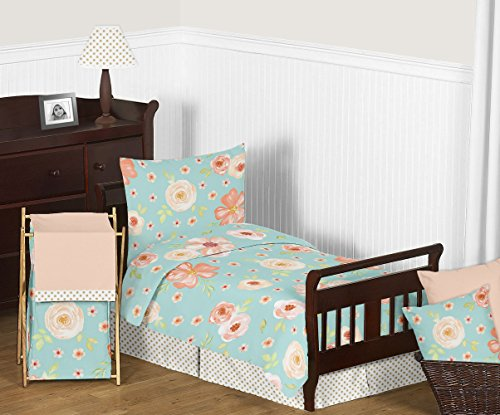 Sweet Jojo Designs Turquoise and Peach Shabby Chic Watercolor Floral Girl Toddler Kid Childrens Bedding Set - 5 Pieces Comforter, Sham and Sheets - Pink Rose Flower Polka - Dot Set Polka Toddler Bedding