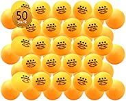 50 Pieces Ping Pong Balls, 3-Star 40+ ABS Table Tennis Balls, Good Spin and Bounce Training Ping Pong for Begi